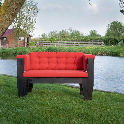 Bolster Design - Two Seat - Model 003 Bolster buitenmeubelen - Antraciet douglashouten buitenmeubelen