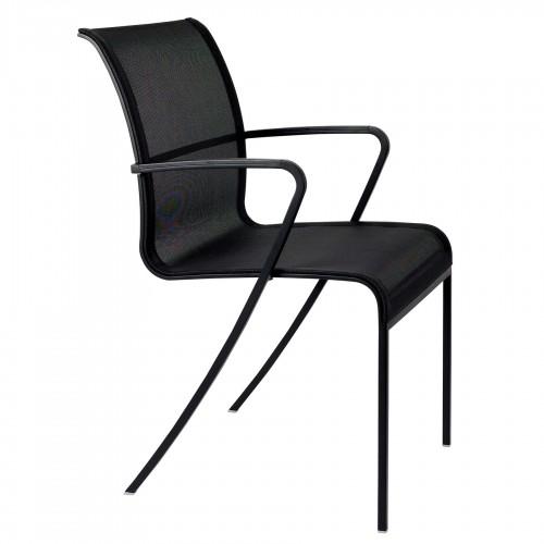 Tuinstoelen tuinstoel - Royal Botania QT armstoel - Nieuwe zwarte aluminium stoel met batyline zitting