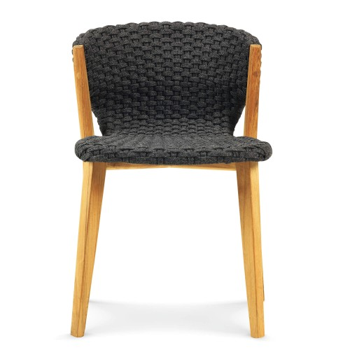 Ethimo - Knit stoel zonder armleuning - Teakhouten designstoel met geweven zitting