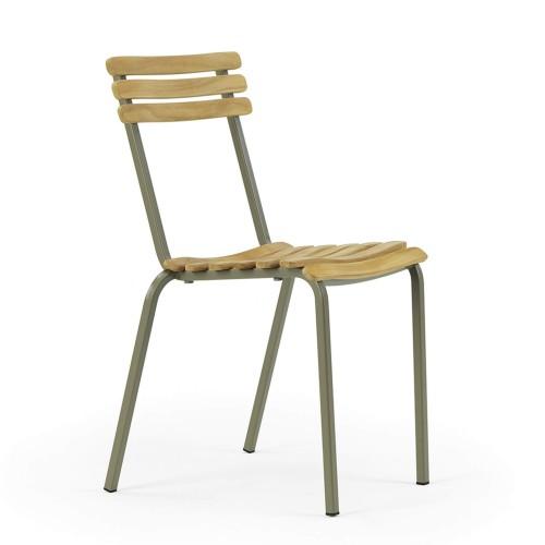 Ethimo - Laren stoel - Eigentijdse metalen buitenstoel met teakhout - Pickled Teak