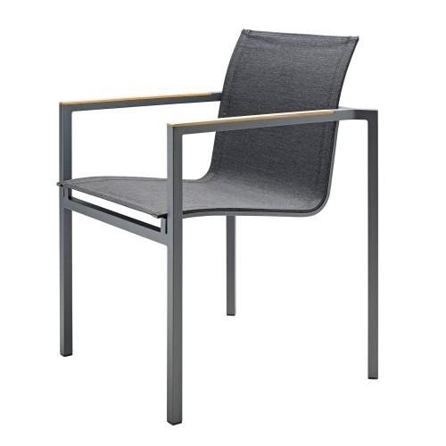 Solpuri - Clauss - Dining stoel - Stapelbare buitenstoel - Aluminium Antraciet met Antraciet leisuretex
