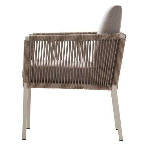 Solpuri - Club - Dining stoel - Aluminium frame in het Dove met Taupe koorden