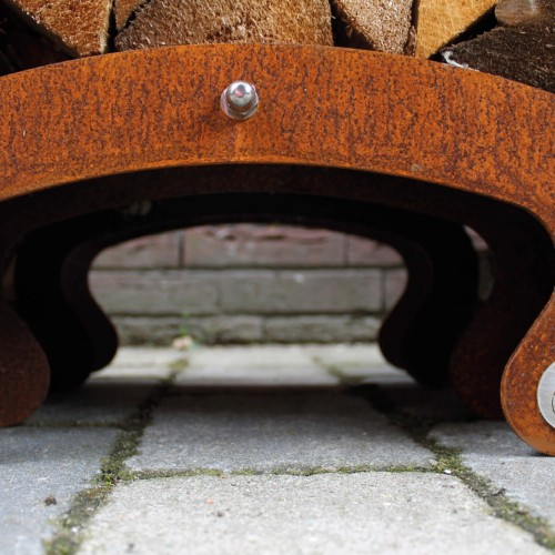 Sebios - Hopper - Cortenstalen houtopslag detail