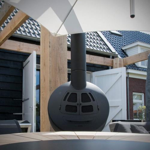 Sebios - Verda - Hangende buitenhaard - 360 graden roterend - gecoated black