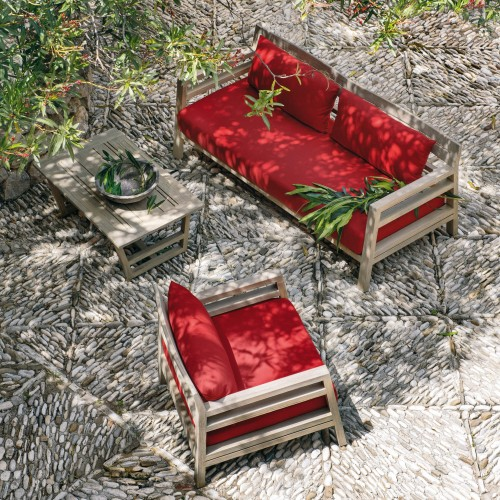 Ethimo - Costes - Lounge armchair - 3 seater sofa - Pickled Teak - Acrylic Cherry Red stof
