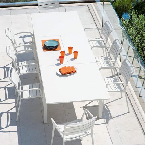 Ethimo - Flat - Aluminium tafel - Metal Warmwhite - 240-360x100 - Ocean dining armchair