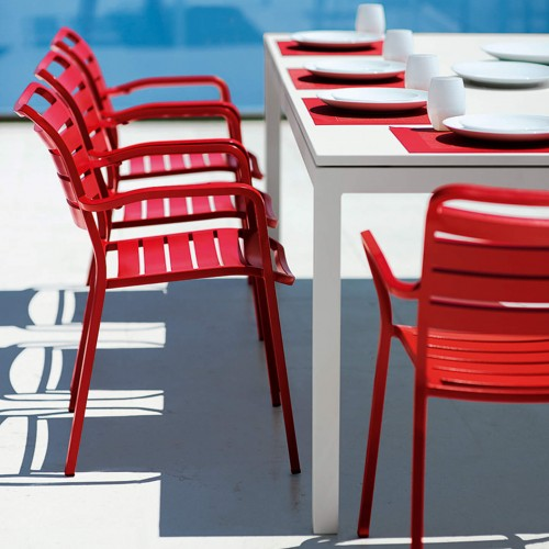 Ethimo - Flat - Aluminium tafel - Metal Warmwhite - 240-360x100 - Ocean dining armchair - Aluminium Poppy Red