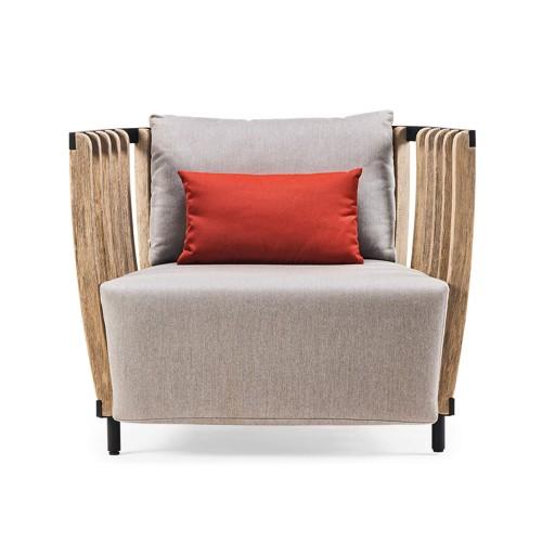 Ethimo - Swing - Lounge armchair - Pickled teak met een zwart detail