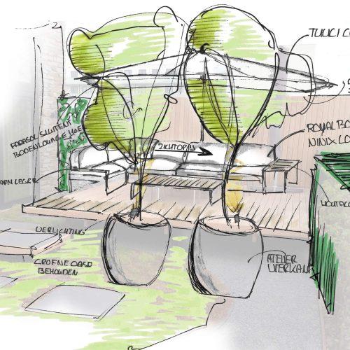 Schets tuininrichting Amsterdam   Buitenleven