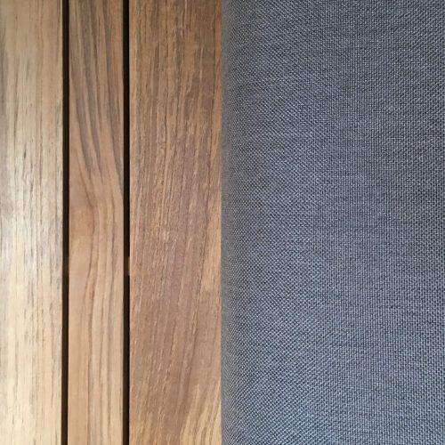 Combinatie van Teak hout met Sunbrella stof