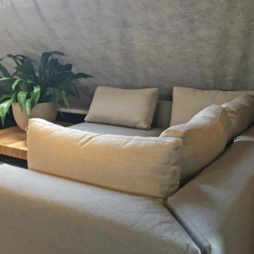 Teakhouten loungebank met Sunbrella kussens Solpuri Plateau
