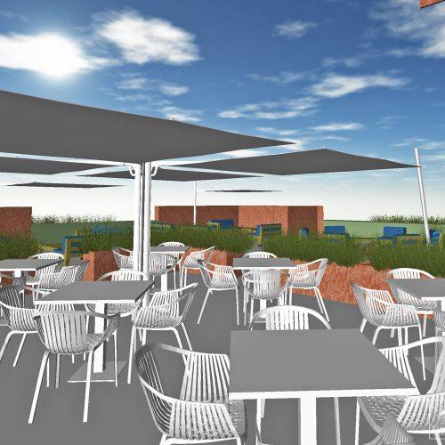 Impressie nieuwe Terras Restaurant ROEST