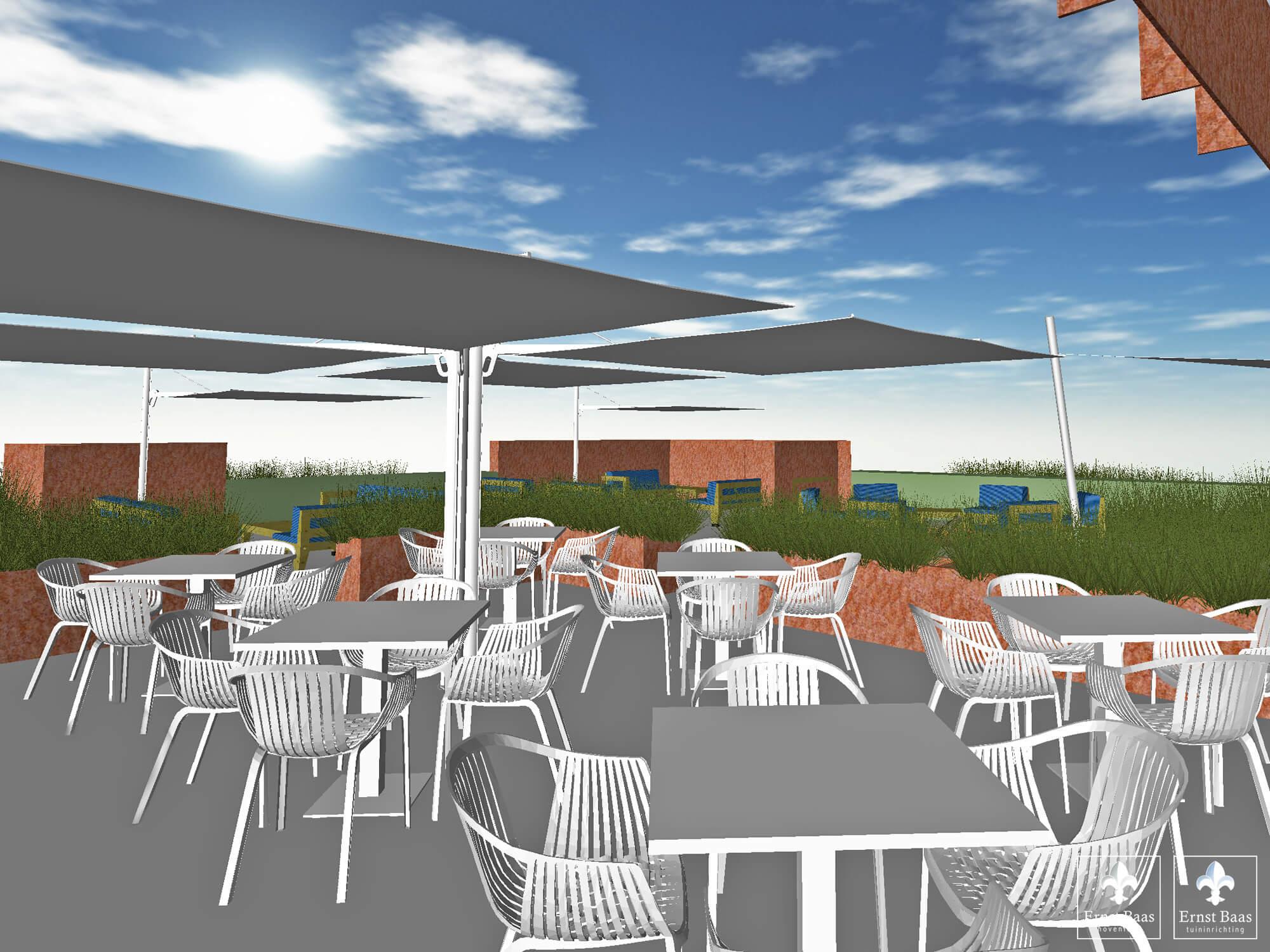 Ontwerp voor het nieuwe terras van golfbaan bentwoud ernst baas tuininrichting - Overdekt terras voor restaurant ...