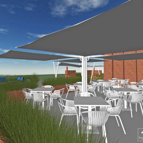 Impressie van dining terras met Umbrosa Spectra