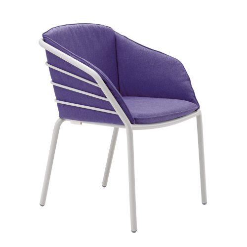 Solpuri Provence Stacking Chair White met paars zitkussen